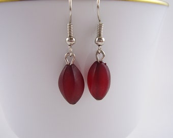 70's Red Earring,Deep Red Earrings Vintage 1970's,Holiday Gift Ideas,Stocking Stuffer,Christmas Earrings, Red Earrings, Pomegranate Earrings