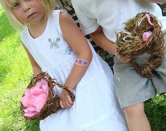 Cornucopia Miniature, Wedding Holiday Decor for Flower Girl, Ring Bearer, Up to 2 Ready to Ship Honeysuckle, Wicker