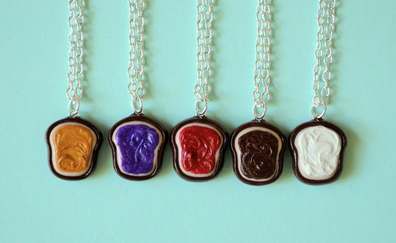 peanut butter and jelly best friend necklaces for 5 polymer