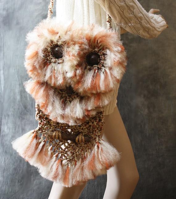 Vintage 1960s Look Hippie Woodstock Macrame Owl Handbag Purse Bag OOAK Handmade Ready To Ship