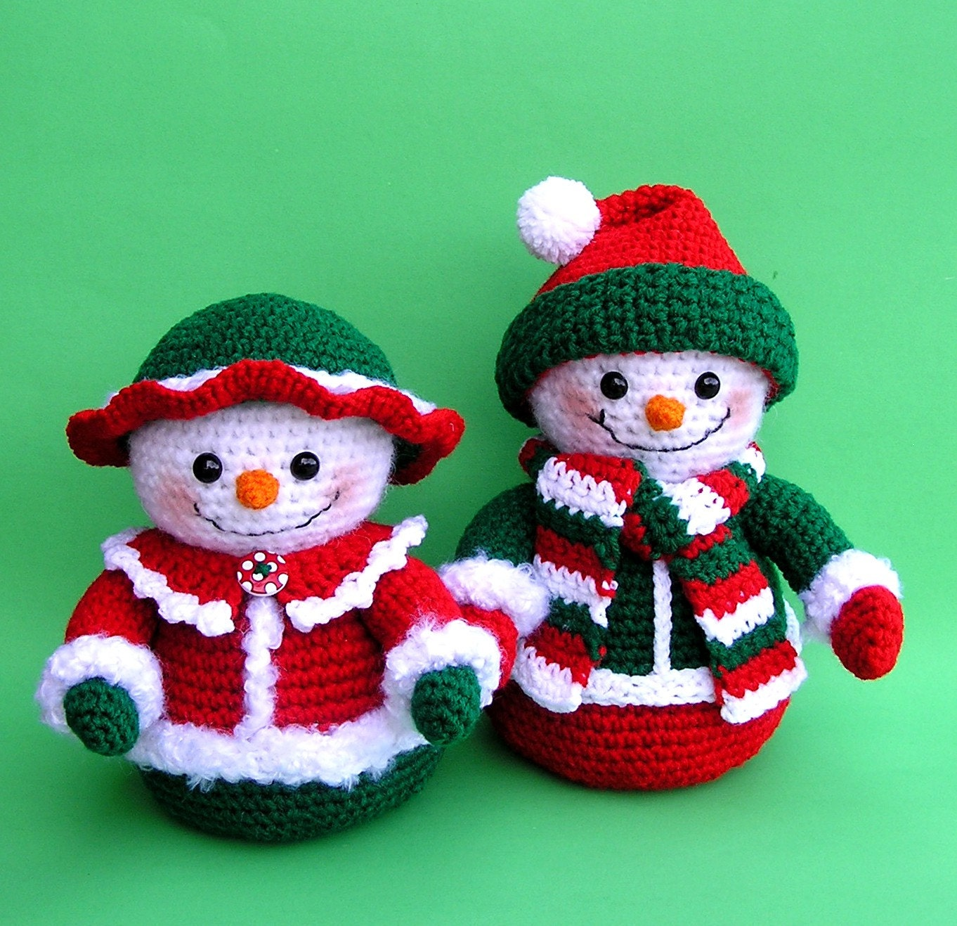 Crochet Patterns Free Snowman : PDF Crochet Pattern Mr and Mrs WINTERS Snowmen