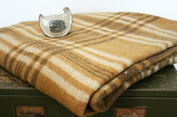vintage 30s Cocoa Brown Plaid Wool Large Blanket- 80 x 86