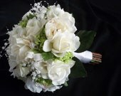 10 Piece Cream/white Silk peonies and Realtouch Rose Bridal Bouquet and Boutonniere Package