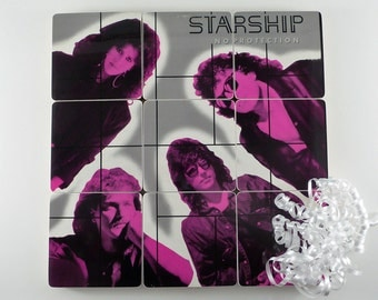 STARSHIP recycled No Protection album cover coasters and warped record bowl