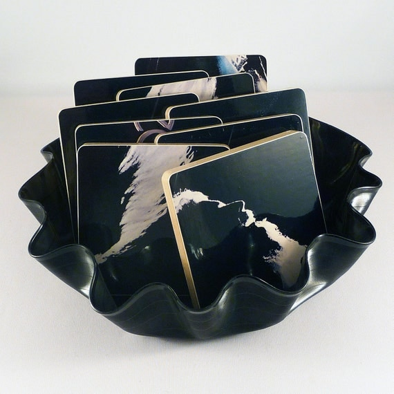 LEON RUSSELL Authentic Album Coasters with the Best of Leon Russell Warped Record Bowl