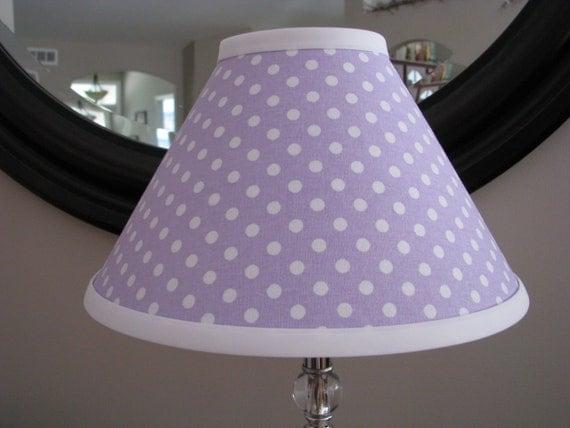 Lavender And White Polka Dot Lamp Shade