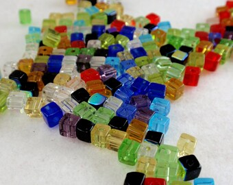4mm Multi Color Ice Cubes Cube Beads Czech Glass A1