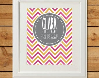 Personalized Nursery Wall Art Birth Poster - Printable Art - Chevron
