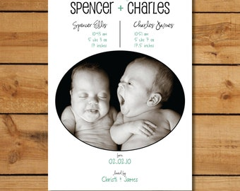 Twin Birth Announcement - Custom Photo Birth Announcement - Oval Twins
