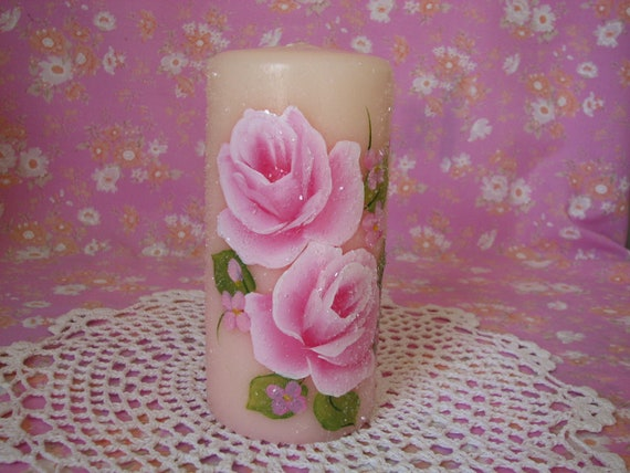 Pillar Candle Hand Painted Pink Roses, Glass Glitter Scented