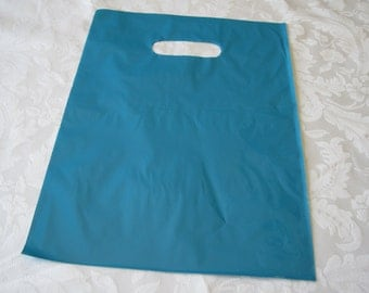 Plastic Bags, Glossy Teal Blue Bags, Gift Bags, Bags with Handles, Retail Merchandise Bags, Party Favor Bag 12x15 Pack 50