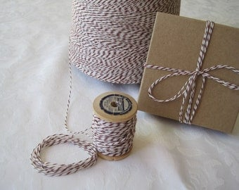 Twine, BROWN Twine, Brown Bakers Twine, Brown and White, String, Cotton Twine, Colored Twine, Gift Wrapping, 50 Yards on Wood Spool