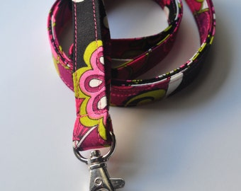 Fabric Lanyard for ID badge, keys in Pink & Black Floral