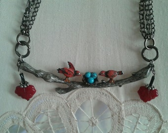 Red Cardinal Bird Necklace