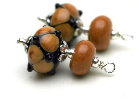 Lampwork Earring Dangle Drop Charm Pendant in Brown Web Design - 2 Pieces