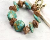 Turquoise Bracelet Boho Chic Palm Wood Tribal Mint Green Spring Fashion Jewelry