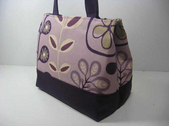 Insulated Lunch Bag Purse - Fun Foliage Purple