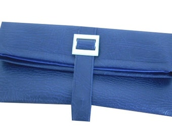 Faux Leather Leatherette Clutch Bag With Vintage Buckle in Blue - Vintage & Retro