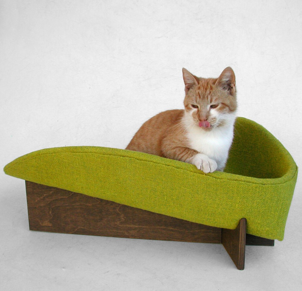 Modern Pet Bed In Mustard Chartreuse Linen