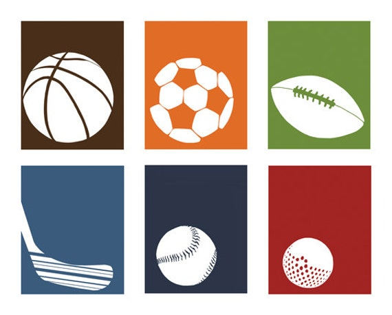 Sports Nursery Art, sports room decor for boys, set of 4, 8 x 10 art prints - available in different sizes and colors