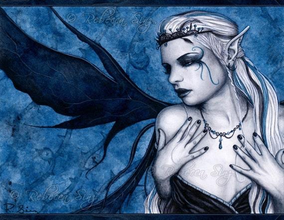 Black Tiara 8.5 x 11 Print Gothic Fairy Art