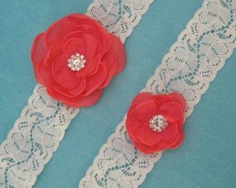 Wedding Garter Ivory lace, Coral Roses,  bridal garter set G022, bridal garter accessory
