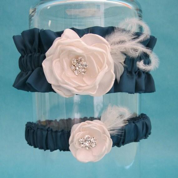 Garter, Dark Teal, Ivory, Feather Rose Wedding Garter Set H164 - bridal garter accessory