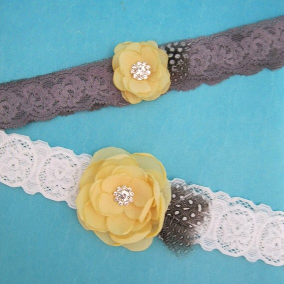 Wedding Garter in Yellow, Gray and White Lace, bridal garter set I103, budget bridal garter accessory