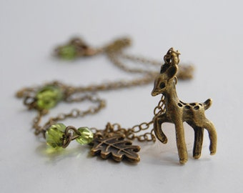 Little Brass Deer Necklace | Cute Fawn Necklace | Woodland Forest Deer Charm Pendant