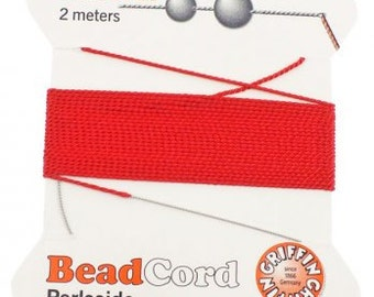 Red Griffin Natural Silk Cord No. 6 w Needle 2 Pkgs