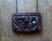 Vintage burgundy SNAKESKIN PURSE / 80's snakeskin clutch