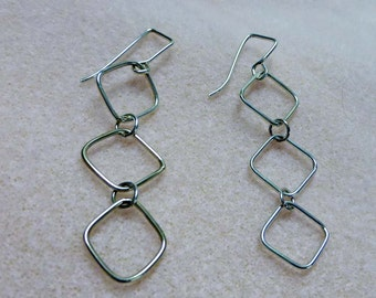 Sterling Silver Three Squares Link Dangle Earrings