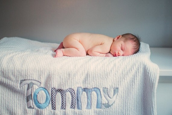 Monogrammed Baby Blanket in DRIZZLE, Grey Dot Minky and White Chenille, Personalized with Your Baby Boy's First Name in Grays and Blues