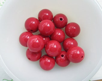 Bloody Red Bubblegum Plastic Beads 8pcs Size 16mm