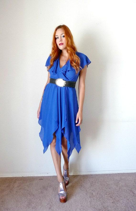 Vintage 70s Royal Blue HANKIE HEM Party Dress S M
