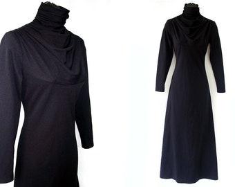 70s Black Ruched Cowl Turtleneck Maxi Dress S