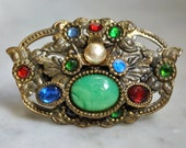Art Deco/Nouveau Cabachon and Rhinestone Brooch - one missing stone - SALE