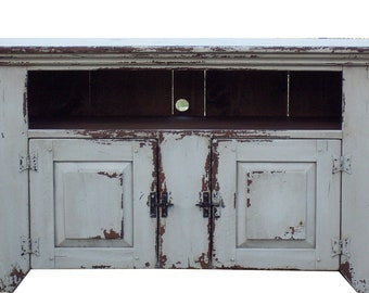 Primitive media console cupboard cabinet entertainment center TV stand painted  farmhouse rustic country  reproduction furniture