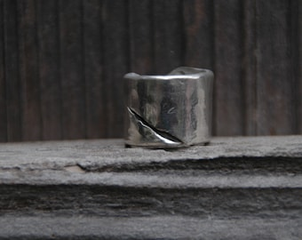 sterling silver interesting twist on band ring  any size