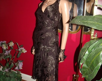 VIntage Brown  Flapper Dress  Art Deco  Embroidery  Beaded Accent  Size 4