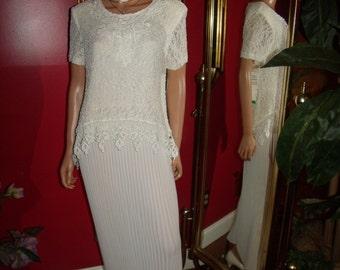 Vintage Off White  Lace  Dress Flapper  does 20-30s Theme  Tea Party  Size 14