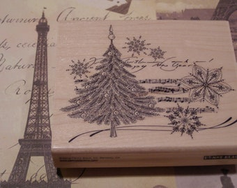 Christmas Music Penny Black wood mounted Rubber Stamp