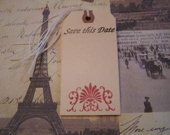 Save this Date Flourish in Cabernet handmade Wedding Tag - Wish Tree - Gift-Tag set of 6 French Shabby Chic Style