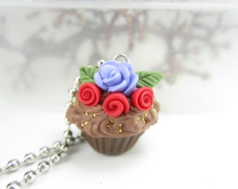 Roses Dark Chocolate Cupcake Necklace Pendant - food jewelry , food necklace