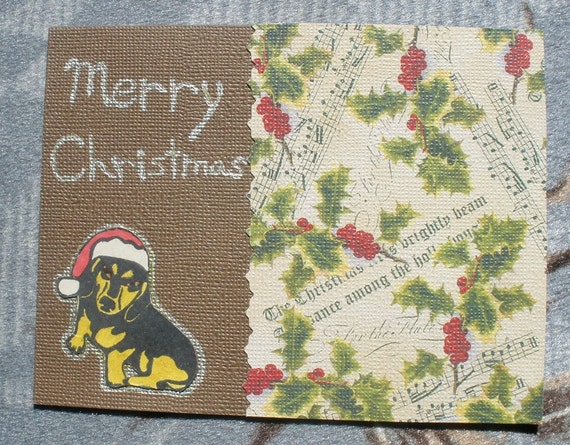 Santa Dachshund Merry Christmas Card  Wiener Dog Collage Brown Card With Envelope Holly Musical Notes