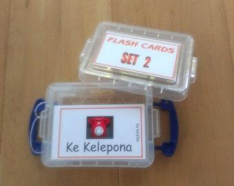 FLASH CARDS (SET 2) - 'Olelo Hawai'i / English -  80 cards plus storage box