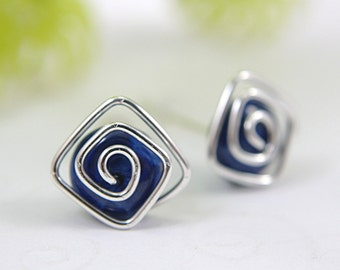 Blue howlite post earrings stud earrings square spiral swirl 925 sterling silver wire wrapped navy blue gemstone dark blue medium size 10mm