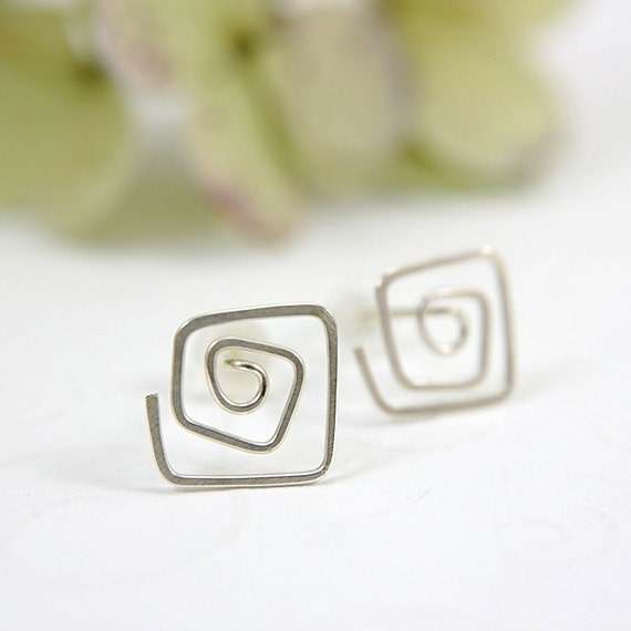 Sterling silver spiral post earrings swirl spiral stud earrings copper hammered square spirals simple minimalist flat nature design earrings