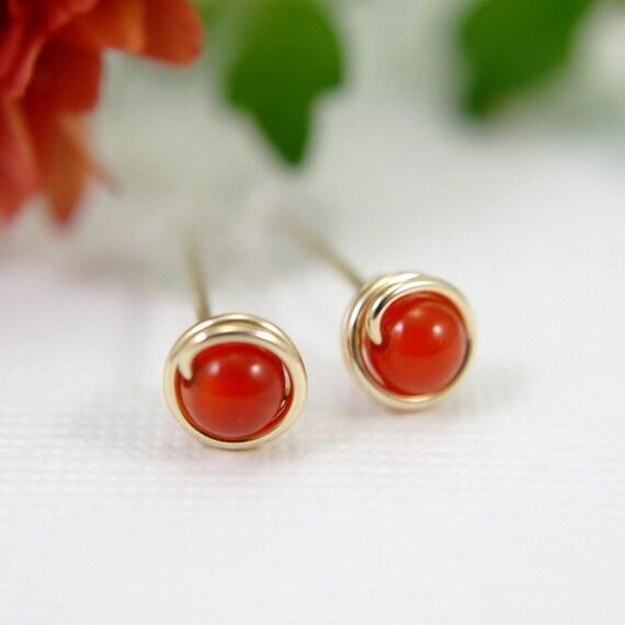 Tiny red agate earrings 14k gold filled wire wrapped earrings red orange gemstone earrings mini earrings second piercing small earrings 5mm