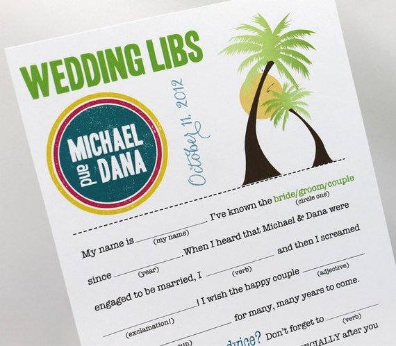 Wedding Mad Libs PDF FILE Print Yourself Tropical Palm Trees Colors are Customizable Includes Word Bank